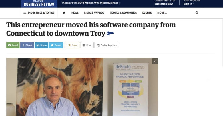 Photo of In The News | deFacto Global in The Albany Business Review