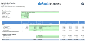deFacto Global - deFacto Planning Capital Project Planning Example Screen Shot